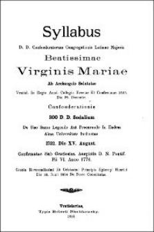 Syllabus D. D. Confoederatorum Congregationis Latinae Majoris Beatissimae Virginis Mariae ab Archangelo Salutatae. 1888