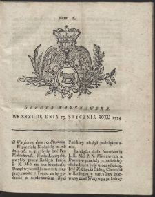 Gazeta Warszawska. R.1774 Nr 6