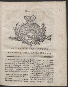 Gazeta Warszawska. R.1774 Nr 18