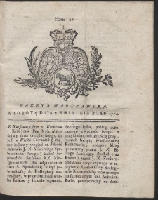 Gazeta Warszawska. R.1774 Nr 27