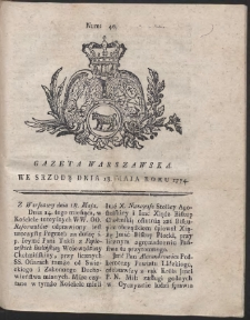 Gazeta Warszawska. R.1774 Nr 40