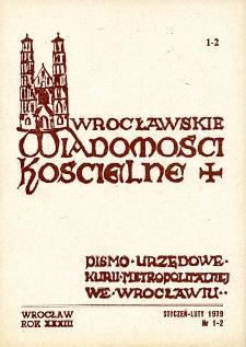 Wrocławskie Wiadomości Kościelne. R. 33 [i.e. 34] (1979), nr 1/2