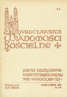 Wrocławskie Wiadomości Kościelne. R. 33 [i.e. 34] (1979), nr 3/4