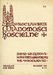 Wrocławskie Wiadomości Kościelne. R. 33 [i.e. 34] (1979), nr 5/6