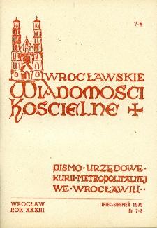 Wrocławskie Wiadomości Kościelne. R. 33 [i.e. 34] (1979), nr 7/8