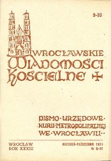 Wrocławskie Wiadomości Kościelne. R. 33 [i.e. 34] (1979), nr 9/10