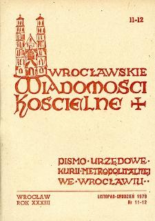 Wrocławskie Wiadomości Kościelne. R. 33 [i.e. 34] (1979), nr 11/12