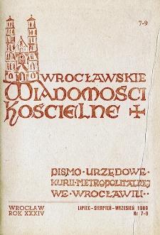 Wrocławskie Wiadomości Kościelne. R. 34 (1980), nr 7/9