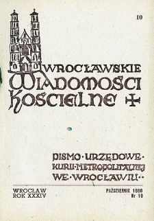 Wrocławskie Wiadomości Kościelne. R. 34 (1980), nr 10
