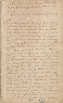 [Miscellanea z lat 1625-1698, zawierające odpisy listów, akt publicznych, wierszy, pism publicystycznych i innych materiałów odnoszących się głównie do spraw politycznych Polski okresu bezkrólewia po śmierci Jana III Sobieskiego]