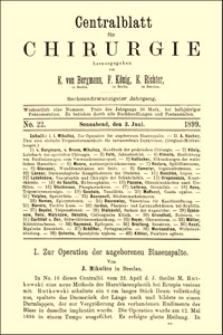 Zur Operation der angeborenen Blasenspalte, Centralblatt für Chirurgie, 1899, Jg. 26, No. 22, S. 641-643