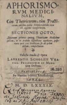 Aphorismorum Medicinalium Cum Theoricorum, tum Practicorum omnibus quibus secunda valetudo curae est apprime necessariorum Selectiones Octo [...]