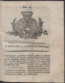 Gazeta Warszawska. R.1774 Nr 83