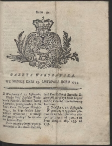 Gazeta Warszawska. R.1774 Nr 94