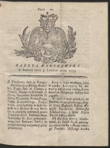 Gazeta Warszawska. R.1775 Nr 10