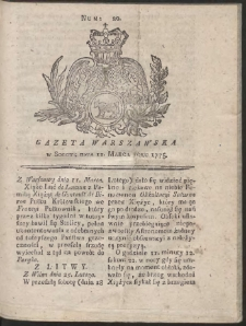 Gazeta Warszawska. R.1775 Nr 20