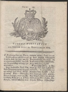 Gazeta Warszawska. R.1775 Nr 23
