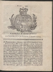 Gazeta Warszawska. R.1775 Nr 45