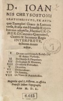 D[ivi] Ioannis Chrysostomi Orationes Octo [...]
