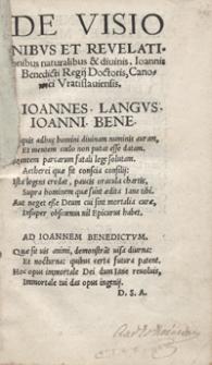 De Visionibus Et Revelationibus Naturalibus Et divinis libellus [...]