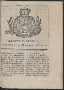 Gazeta Warszawska. R.1775 Nr 70