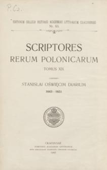 Stanisława Oświęcima dyaryusz 1643-1651