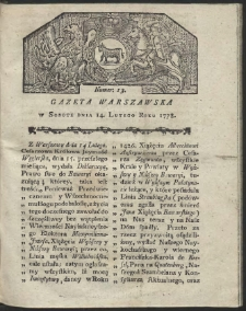 Gazeta Warszawska. R.1778 Nr 13