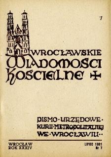 Wrocławskie Wiadomości Kościelne. R. 34 [i.e. 36] (1981), nr 7