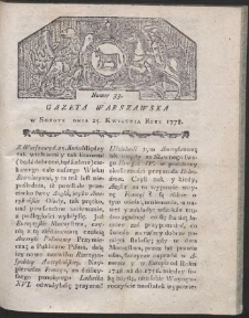 Gazeta Warszawska. R.1778 Nr 33