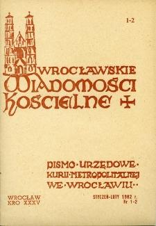 Wrocławskie Wiadomości Kościelne. R. 35 (1982), nr 1/2