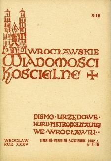 Wrocławskie Wiadomości Kościelne. R. 35 (1982), nr 8/10