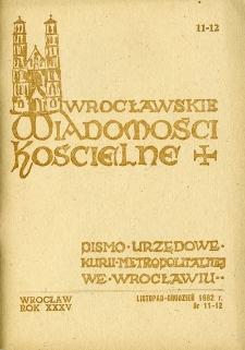 Wrocławskie Wiadomości Kościelne. R. 35 (1982), nr 11/12
