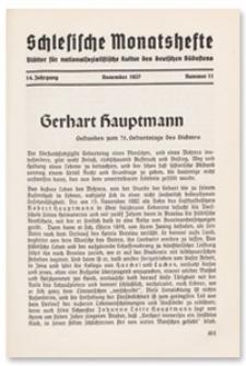 Schlesische Monatshefte : Blätter für Nationalsozialistische Kultur des Deutschen Südostens. 14. Jahrgang, November 1937, Nummer 11