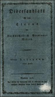 Diöcesanblatt für den Clerus der Fürstbischöflich Breslauer Diöces. Jhrg. 3, H. 1-4 (1806/1807)
