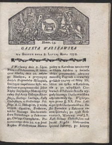 Gazeta Warszawska. R.1778 Nr 54