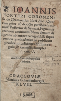 Joannis Honteri Coronensis de Grammatica libri duo