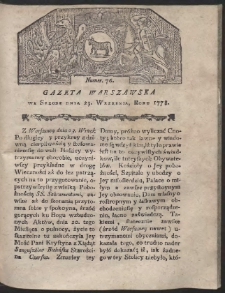 Gazeta Warszawska. R.1778 Nr 76