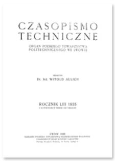Czasopismo Techniczne. R. 53, 10 listopada 1935, Nr 21