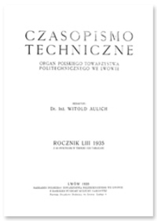 Czasopismo Techniczne. R. 53, 10 grudnia 1935, Nr 23