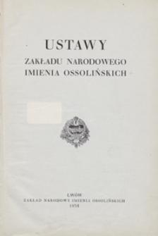 Ustawy Zakładu Narodowego imienia Ossolińskich