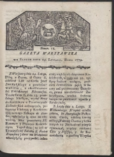 Gazeta Warszawska. R. 1779 Nr 16