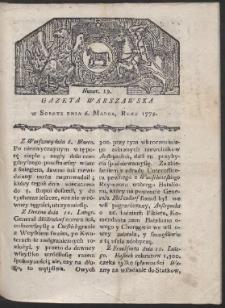 Gazeta Warszawska. R. 1779 Nr 19