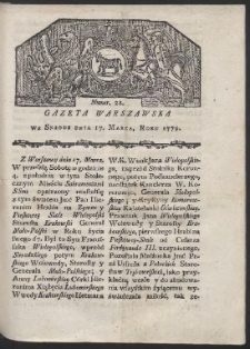 Gazeta Warszawska. R. 1779 Nr 22