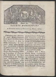 Gazeta Warszawska. R. 1779 Nr 27