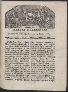 Gazeta Warszawska. R. 1779 Nr 31