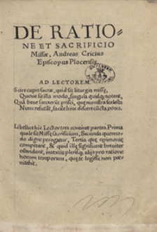 De Ratione Et Sacrificio Missae [...]
