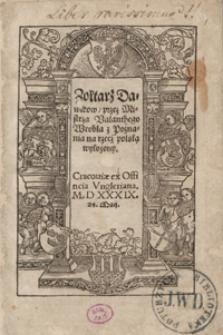 Zołtarz Dawidow przez Mistrza Valanthego Wrobla [...] na rzecz polską wyłożony