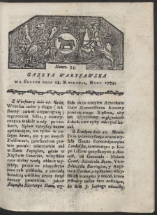 Gazeta Warszawska. R. 1779 Nr 34