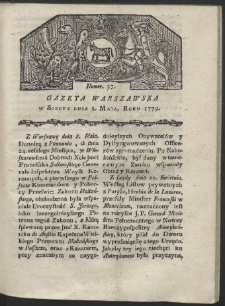 Gazeta Warszawska. R. 1779 Nr 37