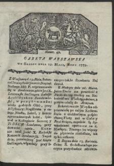 Gazeta Warszawska. R. 1779 Nr 40